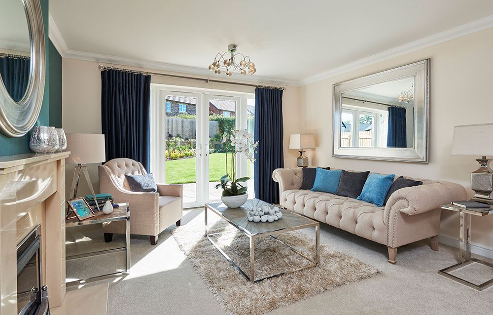 New show home opens at crindledyke farm for Show home living room designs